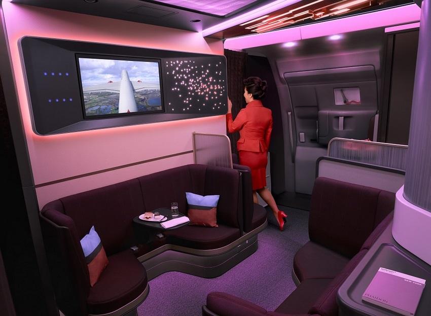 """""""The Loft"""" es el nuevo espacio social que ofrece Virgin Atlantic y sustituye al área de bar en la actual flota"""