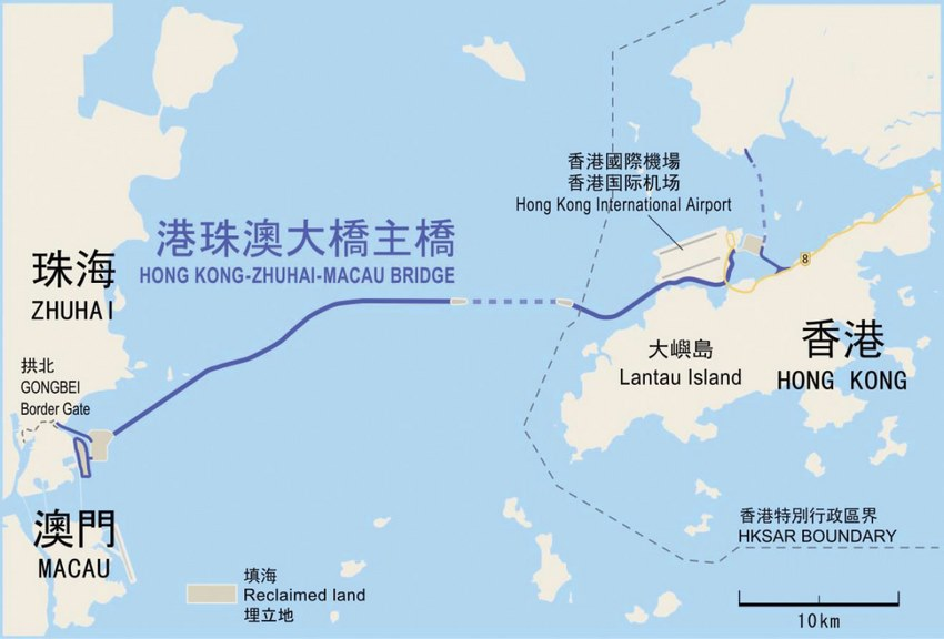 Trayectoria puente Hong Kong Zhuhai Macao
