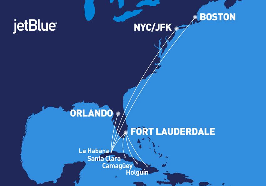 ruta del  JetBlue