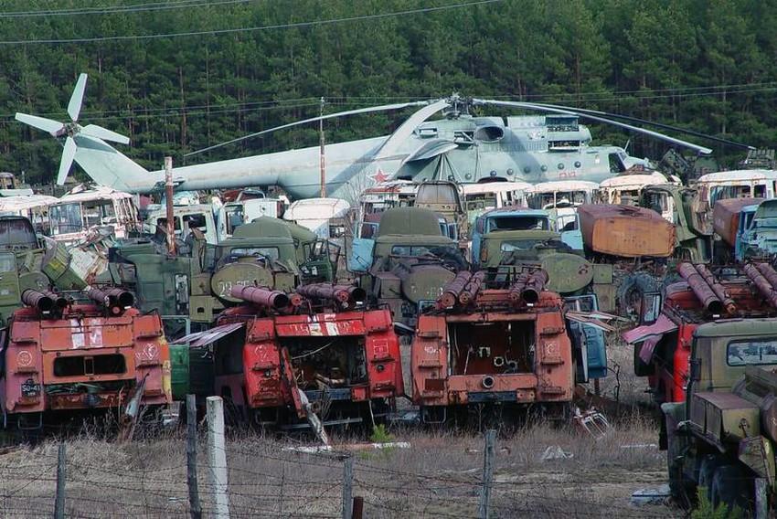 Vehículos radioactivos en Chernóbil
