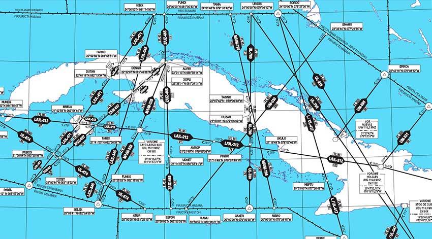 Mapa de aeronáutica de Cuba